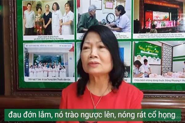 Cô Phan Thị Minh Hiền - bệnh nhân bị bệnh dạ dày khám chữa tại Trung tâm Thuốc dân tộc